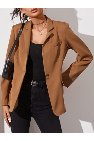 YOINS Brown Button Design Lapel Collar Long Sleeves Blazer