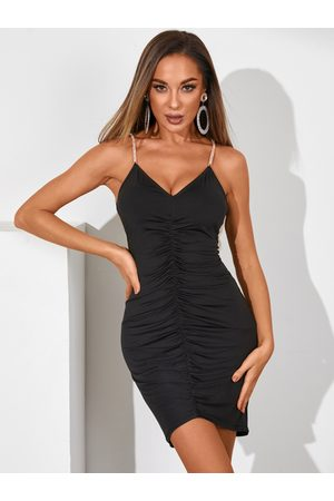 YOINS Ruched Rhinestone Spaghett Strap Sleeveless Dress