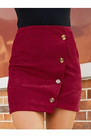 YOINS Red Front Button Wrap Design Asymmetrical Hem Corduroy Skirt