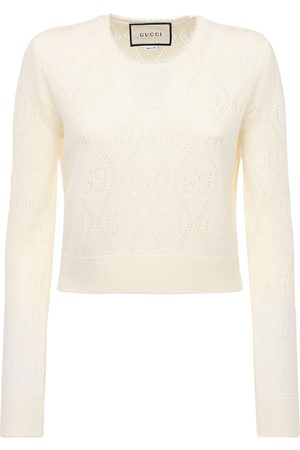 Gucci Gg Wool Knit Cropped Crewneck Top