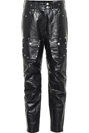 DRIES VAN NOTEN Women Leather Pants - Studded slim leather pants