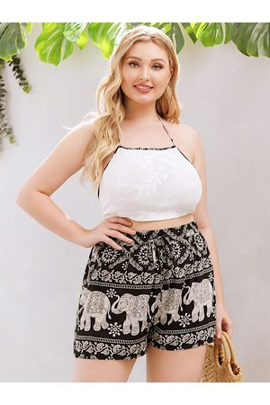 YOINS Plus Size Halter Tribal Sleeveless Two Piece Outfit