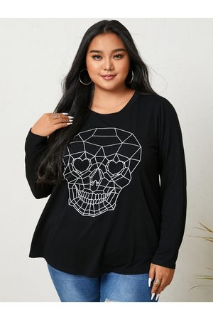 YOINS Plus Size Halloween Skull Crew Neck Graphic Long Sleeves Tee