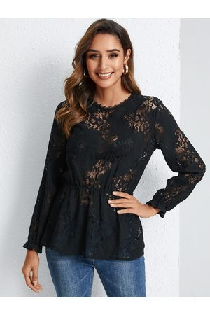 YOINS Black Lace Round Neck Long Sleeves Blouse