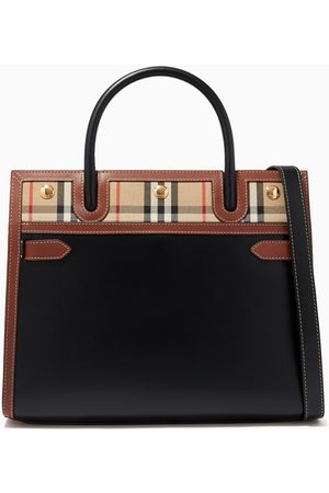 Burberry Small Two-Handle Title Bag in Vintage Check & Leather