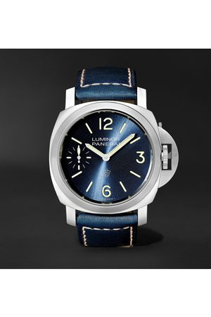 PANERAI Men Watches - Luminor Blu Mare Hand-Wound 44mm Stainless Steel and Leather Watch, Ref. No. PAM1085