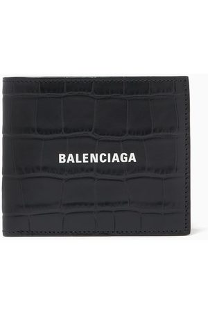 Balenciaga Cash Square Folded Coin Wallet in Croc-Embossed Leather