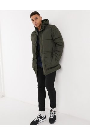 French Connection Padded hooded parka coat in khaki