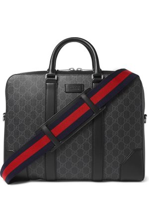 Gucci Men Laptop Bags - Leather-Trimmed Monogrammed Coated-Canvas Briefcase