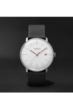 Junghans Men Watches - Max Bill Bauhaus Automatic 38mm Stainless Steel and Textured-Leather Watch, Ref. No. 027/4009.02