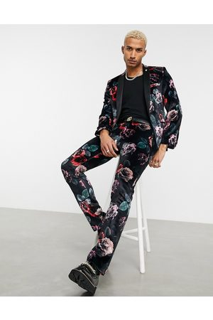 Twisted Tailor Suit trousers with large floral print in velvet