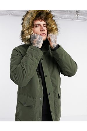 Jack & Jones Originals parka with faux fur hood in khaki