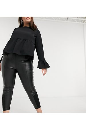River Island Faux leather ponte panelled leggings in