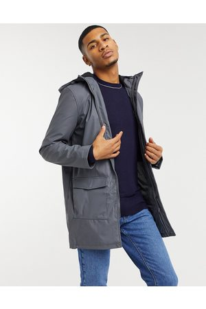 French Connection Coated hooded fleece lined parka coat in dark