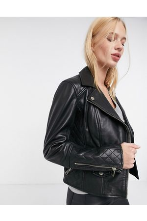 River Island Women Blazers - Leather biker jacket with quilting in