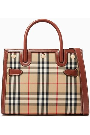 Burberry Mini Two-Handle Title Bag in Vintage Check & Leather