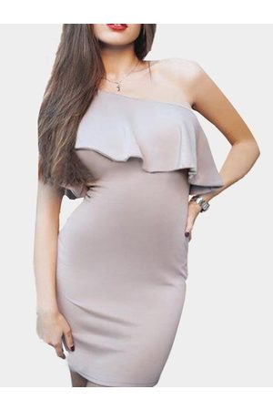 YOINS One Shoulder Flouncing Bodycon Dress