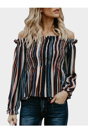 YOINS Stripe Off The Shoulder Long Sleeves Blouse