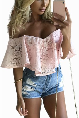 YOINS Off-The-Shoulder Frill Overlay Lace Bodysuit