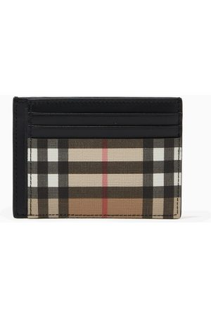 Burberry Women Wallets - Money Clip Card Case in Vintage Check & Leather