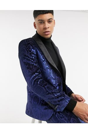 Twisted Tailor Suit jacket with sating shawl lapel in metallic snakeprint