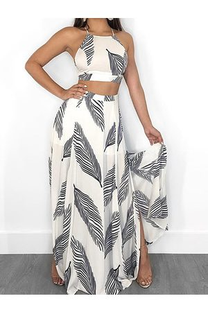 YOINS White Tropical Square Neck Sleeveless Top & Slited Skirt Suit