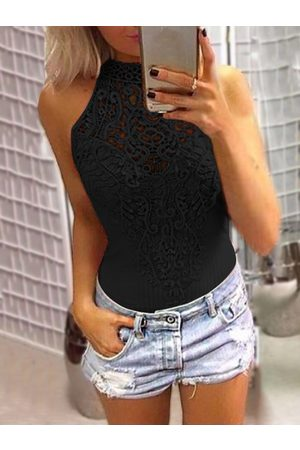 YOINS Sexy Lace Overlay Hollow Out Halter Neck Sleeveless Bodysuit