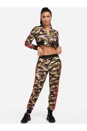 YOINS Side Pockets Camouflage Long Sleeves Active Tracksuit