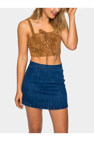YOINS Suede Lace-Up Cropped Bralet