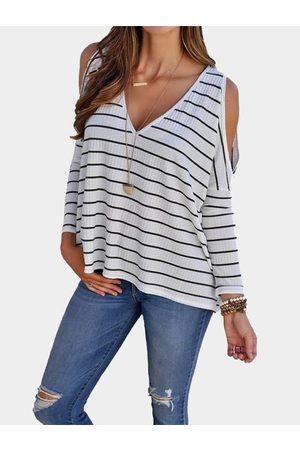YOINS White Stripe Cold Shoulder Long Sleeves T-shirts