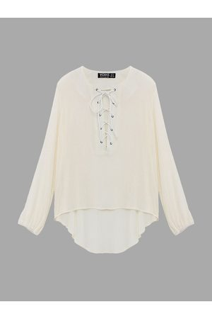 YOINS Cream Lace Up Top