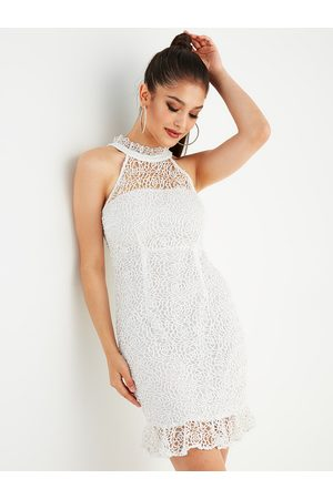 YOINS Lace With Lining Zip Back Halter Dress