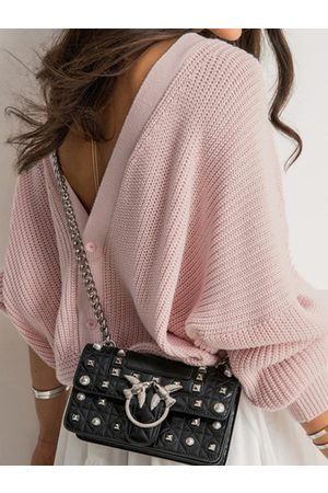 YOINS Backless Button Design Knit Sweater