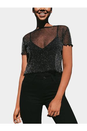YOINS Mesh Round-Neck Crop Top & Cami Set