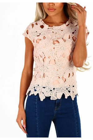 YOINS Crochet Lace Round Neck Short Sleeves Sexy Top