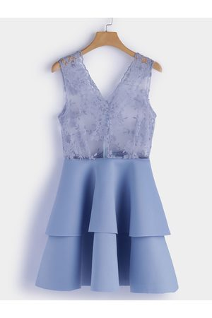 YOINS Hollow Design Embroidered V-neck Sleeveless Tiered Dress