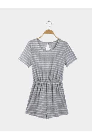 YOINS Casual Round Neck Backless Short Sleeve Stripe Pattern Playsuit