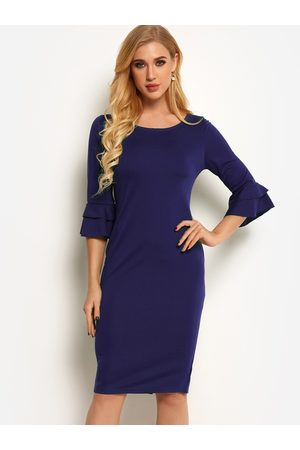 YOINS Round Neck Bell Sleeves Bodycon Dress