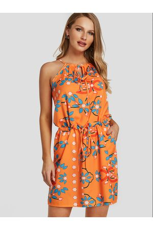 YOINS Tie-up design Random Floral Print Halter Drawstring Waist Dress