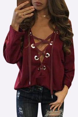 YOINS Lace-up Front Design Casual Top in Burgundy