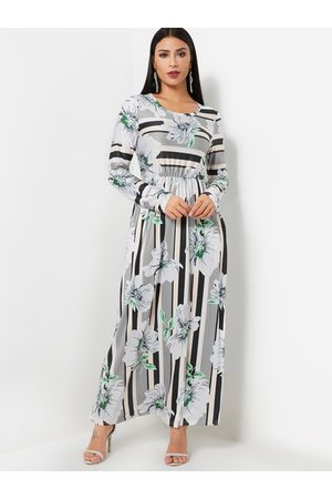 YOINS Round Neck Long Sleeve Striped Floral Print Maxi Dress in