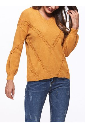 YOINS Pullover V-neck Long Sleeves Sweater