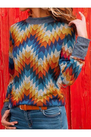 YOINS Multi Patch Geometrical Long Sleeves Knit Tee