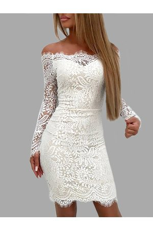 YOINS Lace Details Off The Shoulder Long Sleeves Bodycon Dress