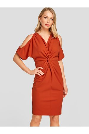 YOINS Orange & Twist Design Cold Shoulder Backless Dress