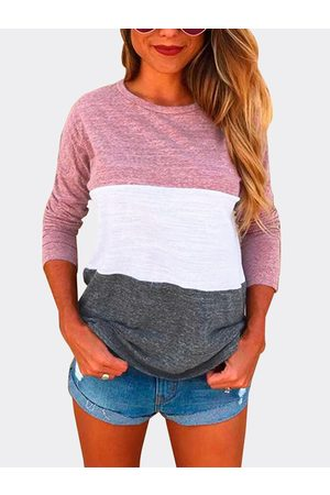 YOINS Pink Patch Color Round Neck Long Sleeves T-shirt