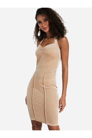 YOINS Apricot Backless Halter Bodycon Dress