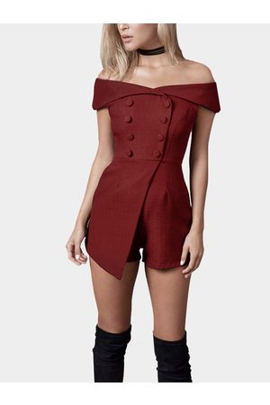 YOINS Off Shoulder Playsuit with Button Design
