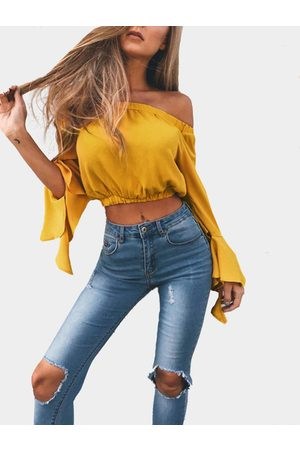 YOINS Off-The-Shoulder Long Flared Sleeves Crop Top