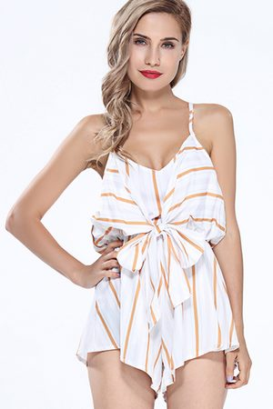 YOINS Stripe Knot Front Cami Playsuit